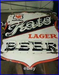 Vintage Kato Beer Porcelain Neon Sign