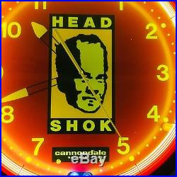 Vintage Large Cannondale Headshock Neon Light Clock -Bicycle Advertising 20