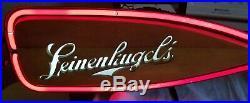 Vintage Leinenkugel's Neon Light Up Canoe Paddle Beer Sign & Wooden Paddle
