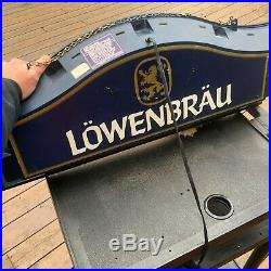 Vintage Lighted Beer Sign Lowenbrau Backlit Beer Sign Double Sided BIG 31.5x14x4