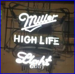 Vintage MILLER High Life Beer NEON Sign. Flashes Red / White. Works Great