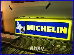 Vintage Michelin Neon Sign lighting up