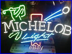 Vintage Michelob Light Neon Golf Sign Large Budweiser Beer Bud Bar Light Ex+