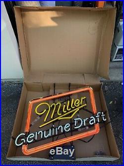 Vintage Miller Genuine Draft 31x24 3-Color Neon Bar Beer Sign In Original Box
