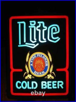 Vintage Miller Lite Neon Sign Cold Beer Sign A fine Pilsner Neon Beer Sign