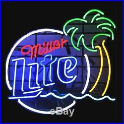 Vintage Miller Lite Palm Tree Real Neon Sign Handmade Beer Bar Light Home Decor