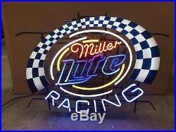 Vintage Miller Lite Racing Neon Sign (30 X 25)