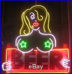 Vintage Neon & Bulb Lit BEER -TOPLESS WAITRESS Sign Gorgeous Art Piece! Antique