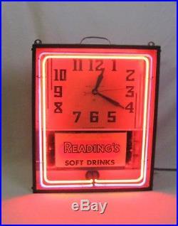 Vintage Neon Clock Sign All Original Reading's Soft Drinks