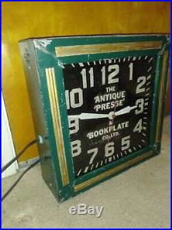 Vintage Neon Clock The Antique Presse & Bookplate Co LTD Rare