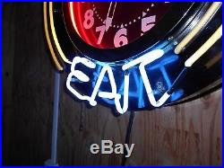 Vintage Neon Clock Time To Eat Diner Old Bar Resturant Saloon Advertising 26