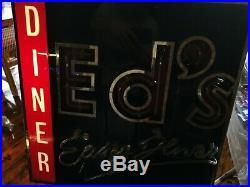 Vintage Neon Light Up Illuminated Sign retro Eds Diner