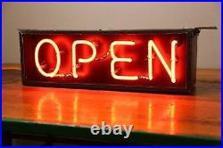 Vintage Neon Open Sign Store Window Display Advertising Red Neon Light Original
