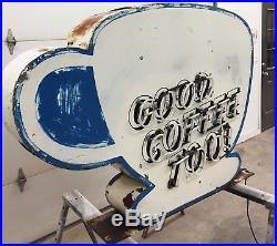 Vintage Neon Sign, Coffee Cup, 1940s 1950s, Original
