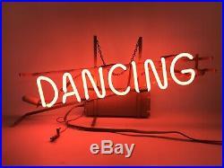 Vintage Neon Sign DANCING dance Studio Hanging Light Up Red Neon Sign #1631
