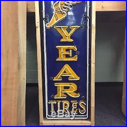 Vintage/Old Porcelain Goodyear Neon Sign 8' EXCELLENT (SEE PHOTOS FOR DETAIL)