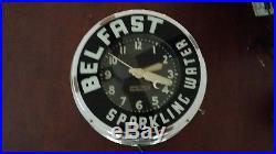 Vintage Original 15 Belfast Sparkling Soda Water Glo Dial Neon Clock Sign