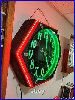Vintage Original Cleveland Script Face Clock, Electric Neon Sign Co