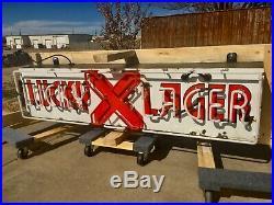 Vintage Porcelain LUCKY LAGER Neon Bar BEER SIGN SHOP MANCAVE LIQUOR GARAGE sign