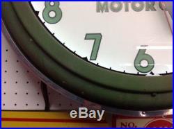 Vintage Quaker State Neon Clock Original Advertisement Gas Oil Sign. Display