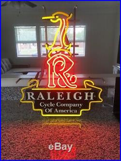 Vintage Raleigh Cycle Company of America Bicycle NEON Dealer Sign PU Virginia