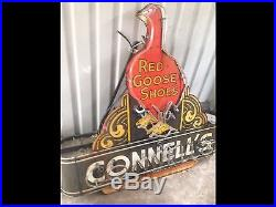 Vintage Red Goose Shoes Single Sided Die Cut Porcelain Neon Sign