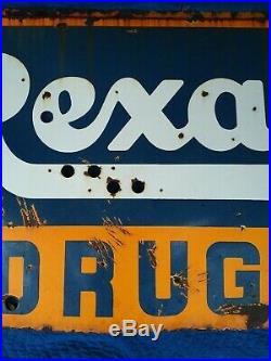 Vintage Rexall Drugs Porcelain Neon Sign Rare Size No Reserve