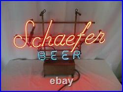 Vintage SCHAEFER BEER Neon Beer Sign Works! Measures 24 Across x 18 Tall