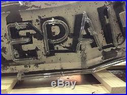Vintage SHOE REPAIRING Single Sided Neon Sign Cobbler Beautiful Patina
