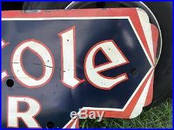 Vintage Single Sided Die Cut King Cole Beer Sign By Huber Neon / Gas Oil Soda