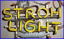 Vintage Stroh Light Neon Electric Beer Sign Bar Restaurant Decor Advertising