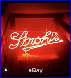 Vintage Stroh's Beer Neon Advertising Sign Franceformer strohs