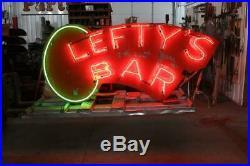 Vintage neon Bar sign signage Leftys Bar