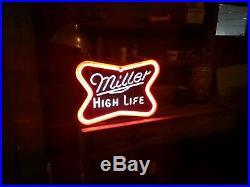 Vintage neon sign Miller Beer blinking