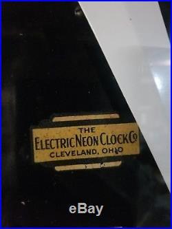 Vintage old antique cleveland neon clock not porcelain sign gas station
