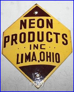 Vintage porcelain advertising door push sign neon products lima ohio