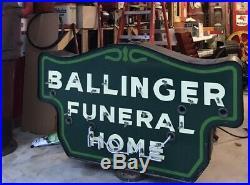 Vintage porcelain neon funeral home sign