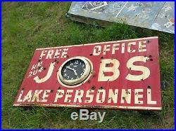 Vintage porcelain neon jobs sign