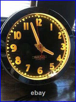 Vintage style remake neon clock electric wall CURTIS Glo dial 21 inch wall sign