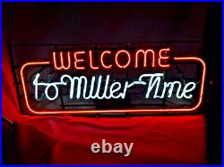 Vtg 1983 WELCOME TO MILLER TIME Authentic Neon Beer Company Sign