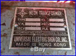 Vtg 60's SCHLITZ On Tap Beer NEON SIGN works fine! Universal Transformer