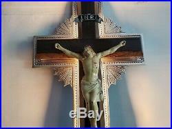 Vtg Antique Art Deco Jesus on Cross Funeral Home Church Crucifix Sign Neon Box