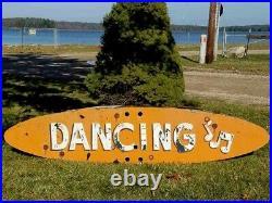 Vtg Dancing Music Notes Country Western Neon Porcelain Advertising Sign Folk Art