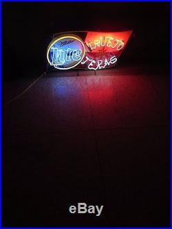 Vtg MILLER LITE BEER True To Texas Neon Sign / Bar Light RARE lone star flag