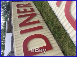 Vtg double sided diner sign 15 foot Aberdeen MD ideal restaurant embossed light