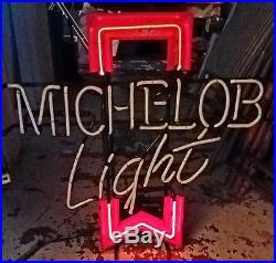 (vtg) Michelob Light Beer Neon Light Up Sign Anheuser Busch Budweiser Game Room